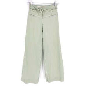 Elevenses Seersucker Pants Wide Leg Green Striped